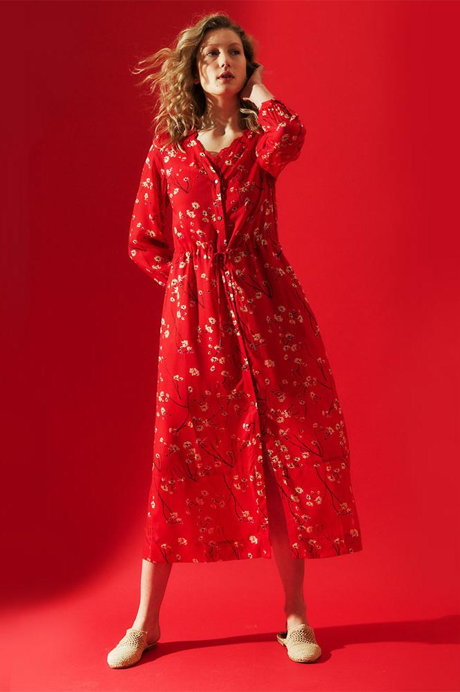 Lanius Dress Moonflower Red