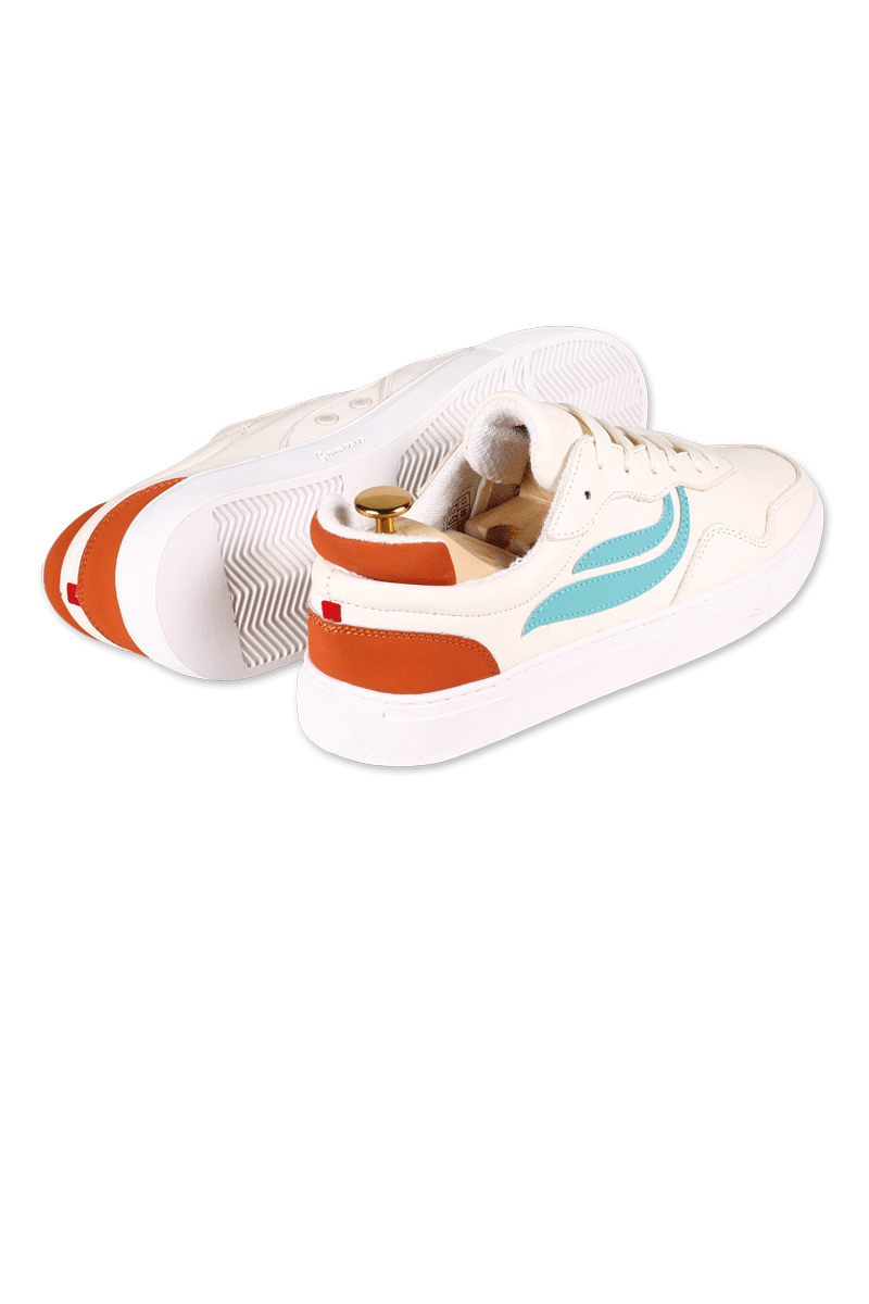 Genesis Sneaker Soley Tumbled White Türkis Orange A