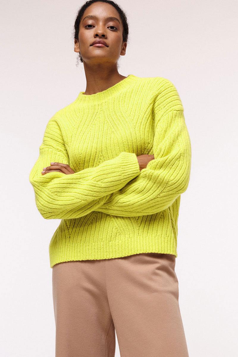 Lanius Pullover neon yellow mit Zopfmuster