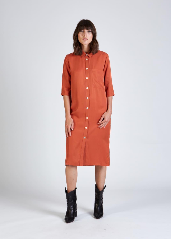 Roberta organic fashion stoffbruch orangenes hemdblusenkleid 1