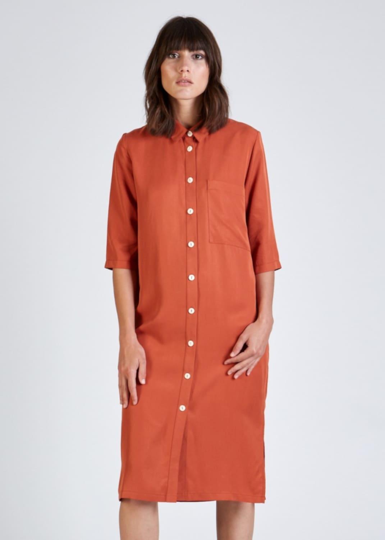 Hemdblusenkleid aus Tencel in Orange von Stoffbruch