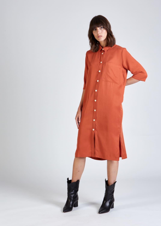 Roberta organic fashion stoffbruch orangenes hemdblusenkleid 3