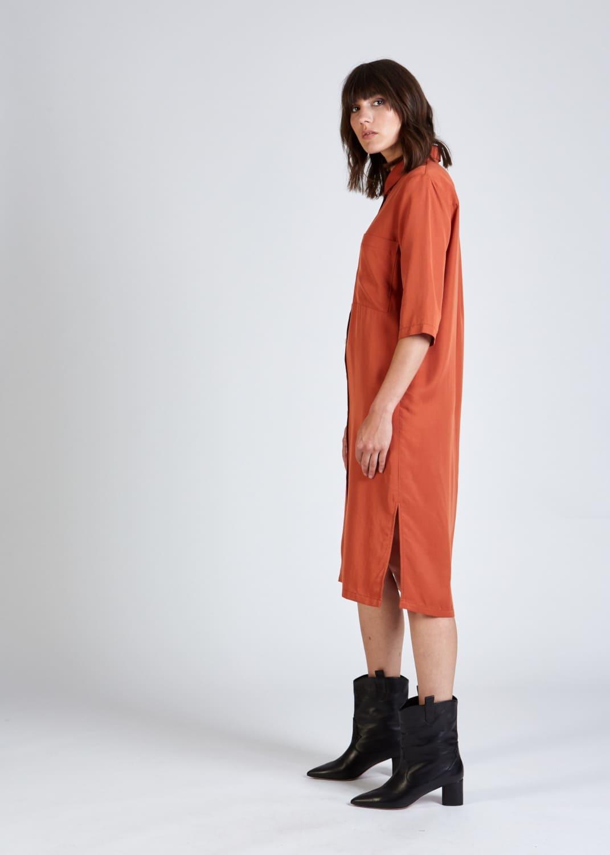 Roberta organic fashion stoffbruch orangenes hemdblusenkleid 4