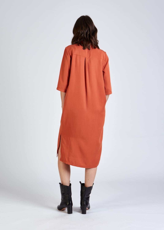 Roberta organic fashion stoffbruch orangenes hemdblusenkleid 5