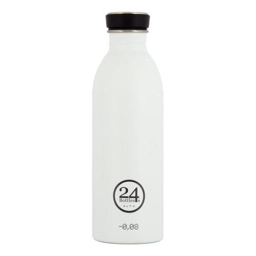 Trinkflasche aus Edelstahl von 24bottles in weiss