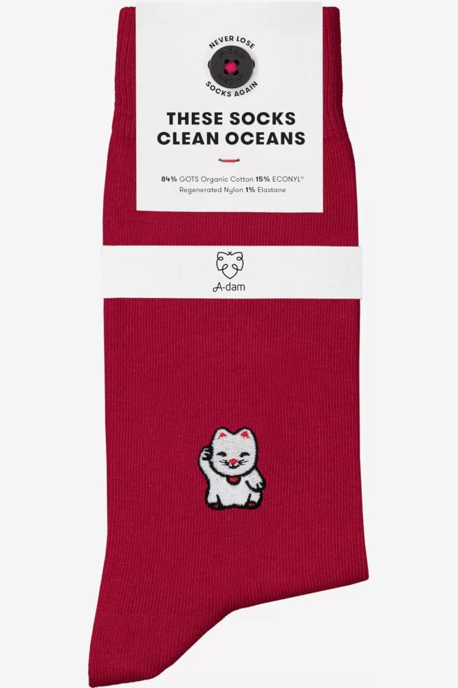 Roberta Organic Fashion Adam Socks Loek Winkekatze Rot