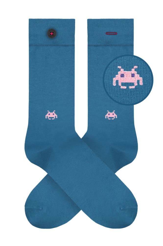 roberta organic fashion Adam Socks space invader blue