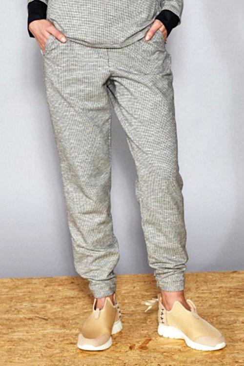 Hose aus weicher Baumwolle Athleisure Hahnentritt Frieda Sand