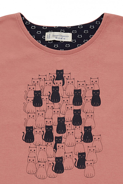 roberta organic fashion Düsseldorf Longsleeve für Mädchen mit Katzen rosa detail