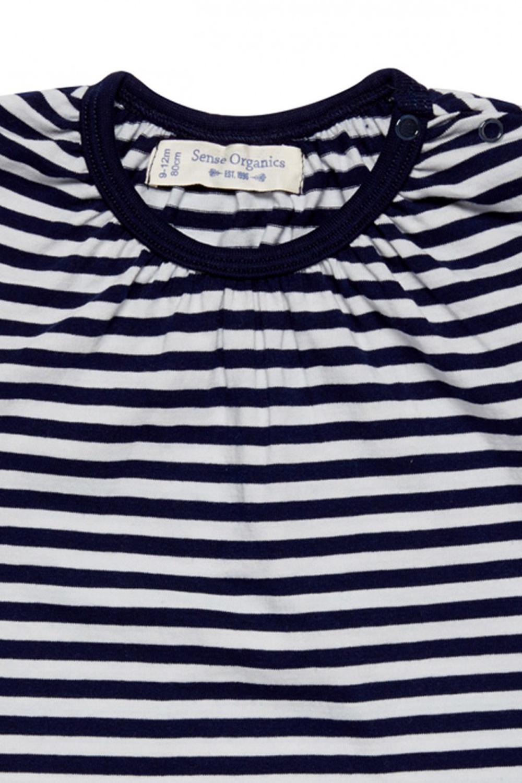 roberta organic fashion Düsseldorf navy weiß gestreiftes Mädchen Longsleeve detail