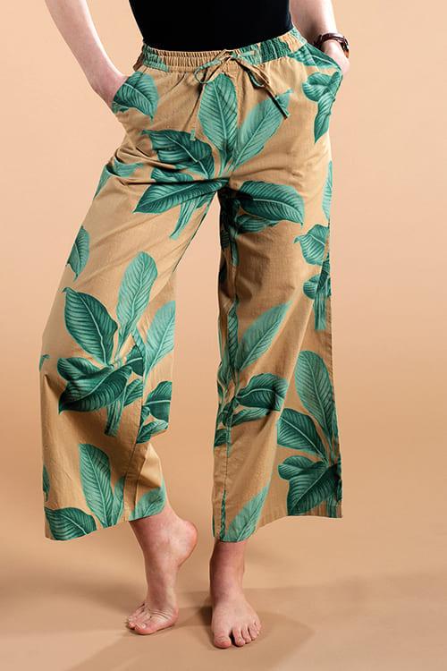 Dedicated | Hose Moss Pants mit Khaki Leaves Print