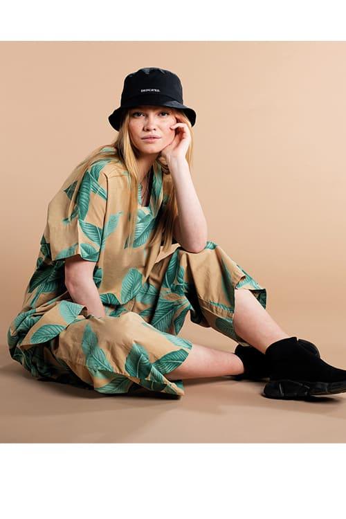 roberta organic fashion Dedicated Culotte khaki leaves