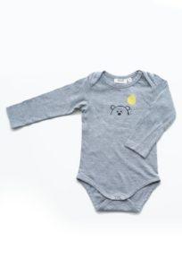 Baby-Body mit langen Ärmeln und Teddy Print auf Grau