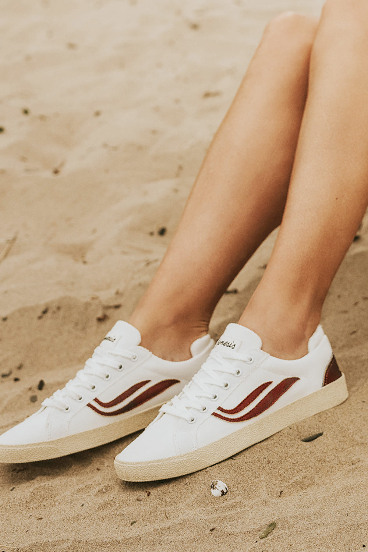 roberta organic fashion Genesis Sneaker Hela Canwas white red 1