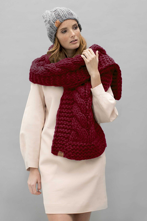 roberta organic fashion Grannys finest Schal Teun weinrot 2