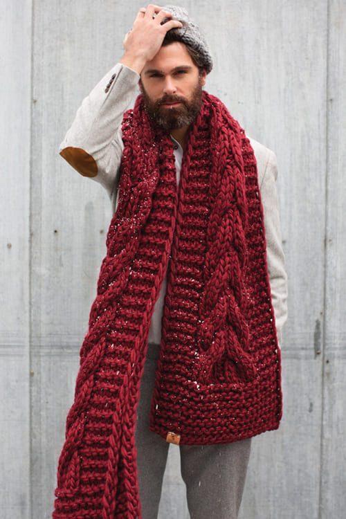 riesiger Schal mit Zopfmuster