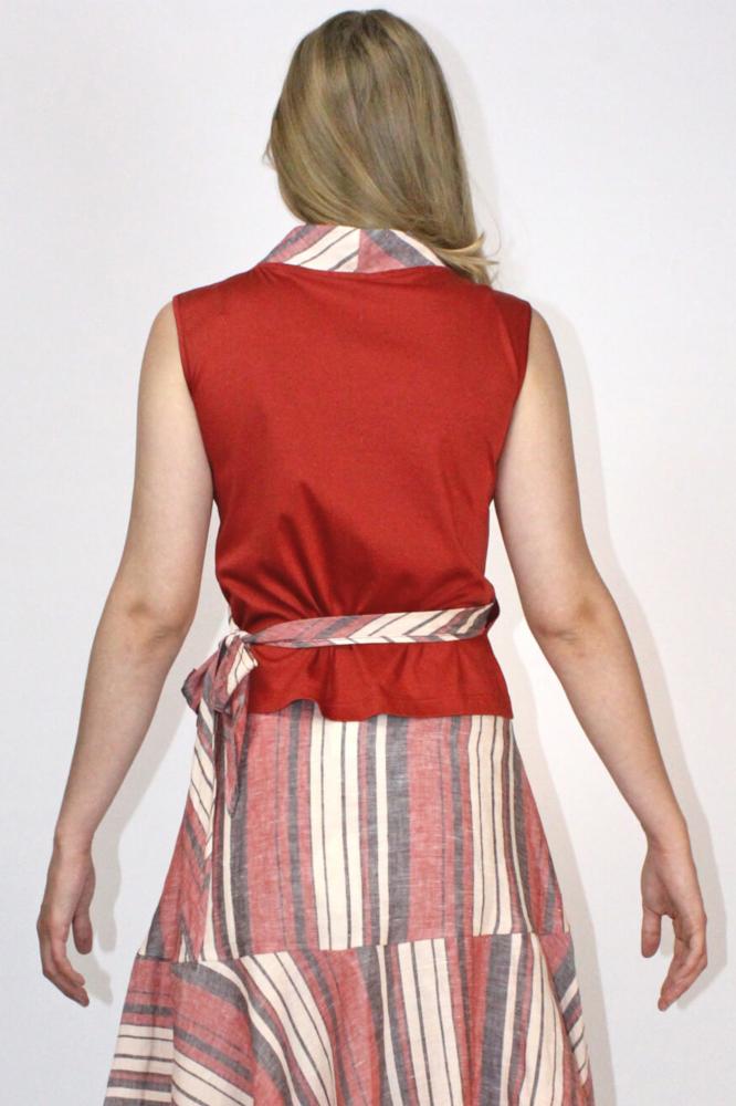 Roberta Organic Fashion Inti Ferreira Rotes Top Mit Leinen 1