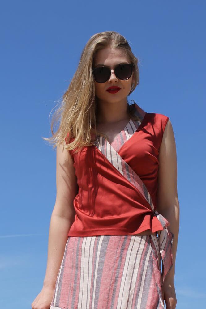 Roberta Organic Fashion Inti Ferreira Rotes Top Mit Leinen 2