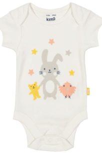 Niedlicher Baby-Body mit kurzen Armen und Hasen-Print von Kite