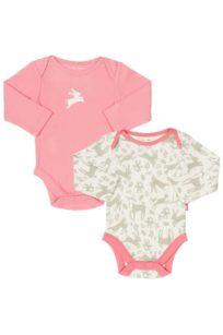 2er Set Bodys mit Hasen-Print von Kite in Rosa und grau/weiss