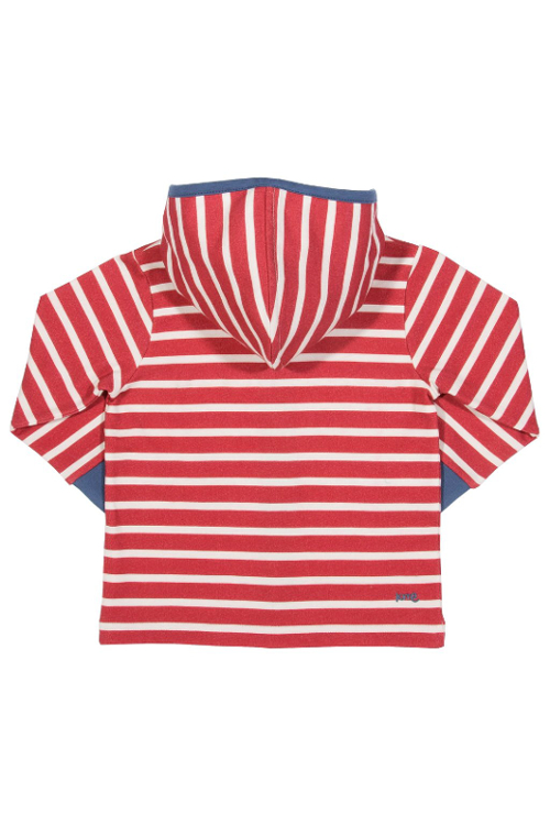 Roberta Organic Fashion Kite Fleecejacke Mit Hoodie Rot Weiß Back