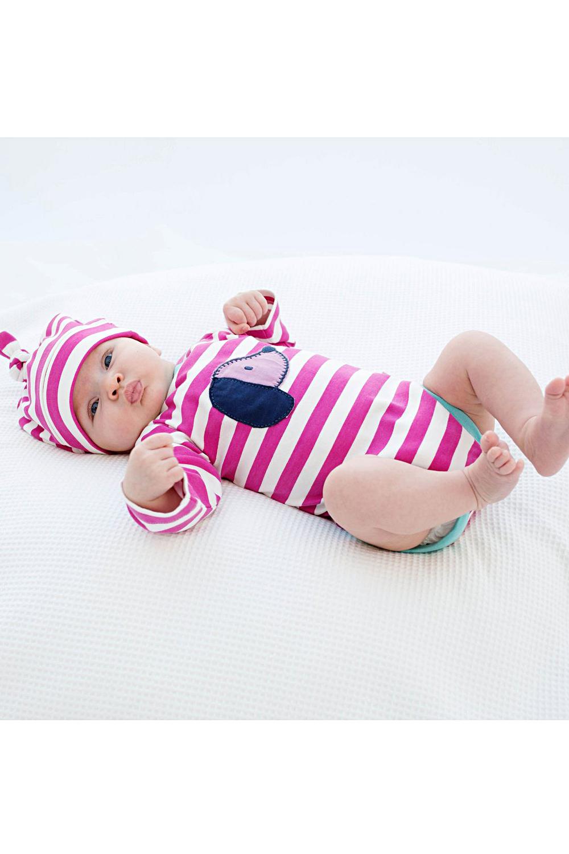roberta organic fashion Kite Strampler pink weiss gestreift Dackel getragen