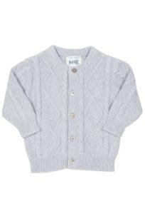 Klassische Strickjacke für Babys in Grau mit Zopfmuster