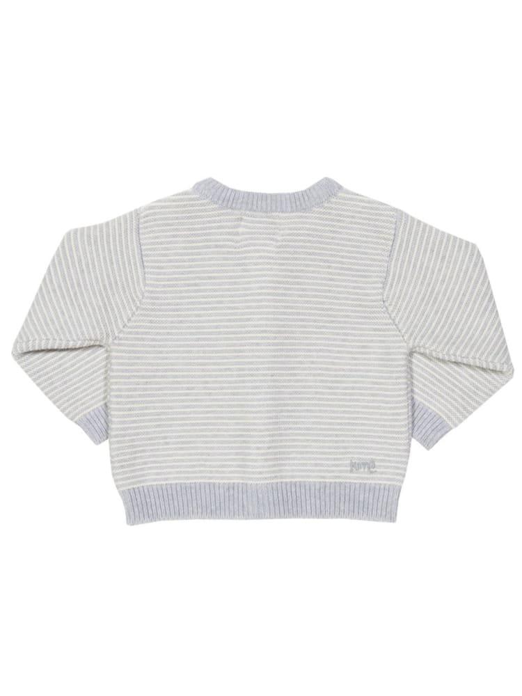 roberta organic fashion Kite Strickjacke gestreift grau weiss 2