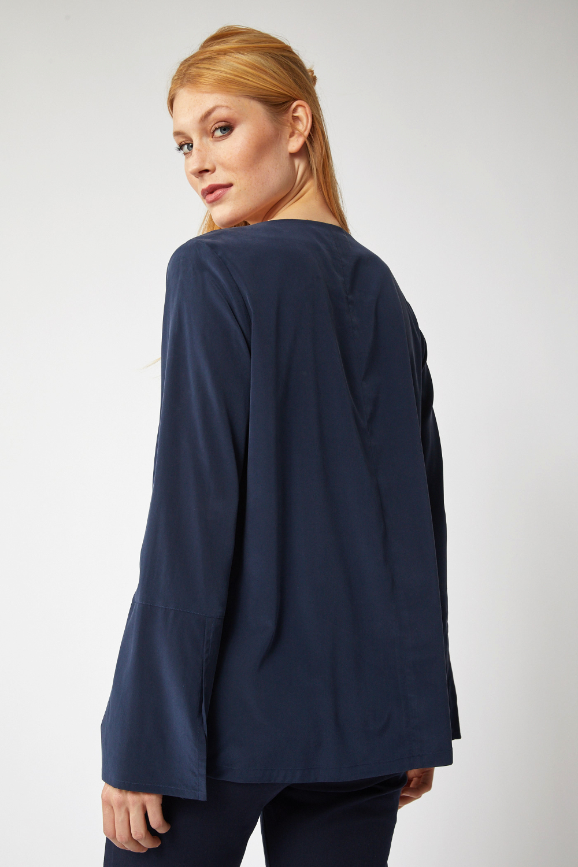 roberta organic fashion Lanius Seidenbluse navy back