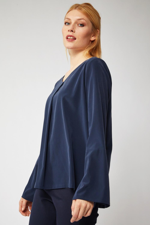 roberta organic fashion Lanius Seidenbluse navy side