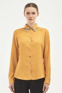 Bluse aus Tencel in senfgelb