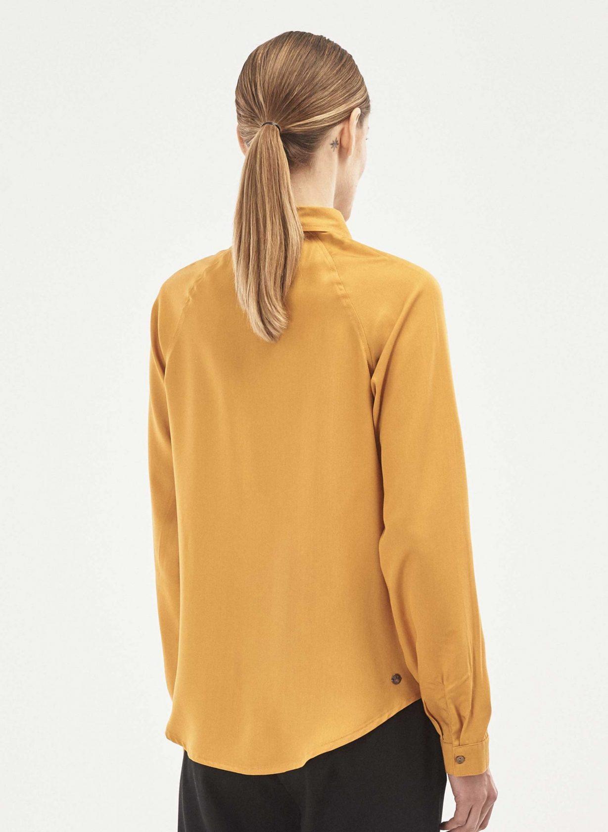 roberta organic fashion Organication Bluse Raglanärmel Kolibri Stickerei senfgelb 4 scaled