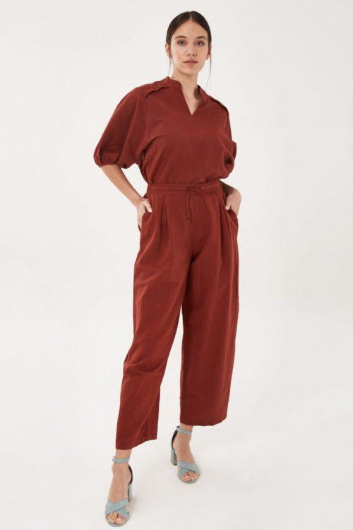 Roberta Organic Fashion Organication Hose Mit Leinen Hot Chocolate