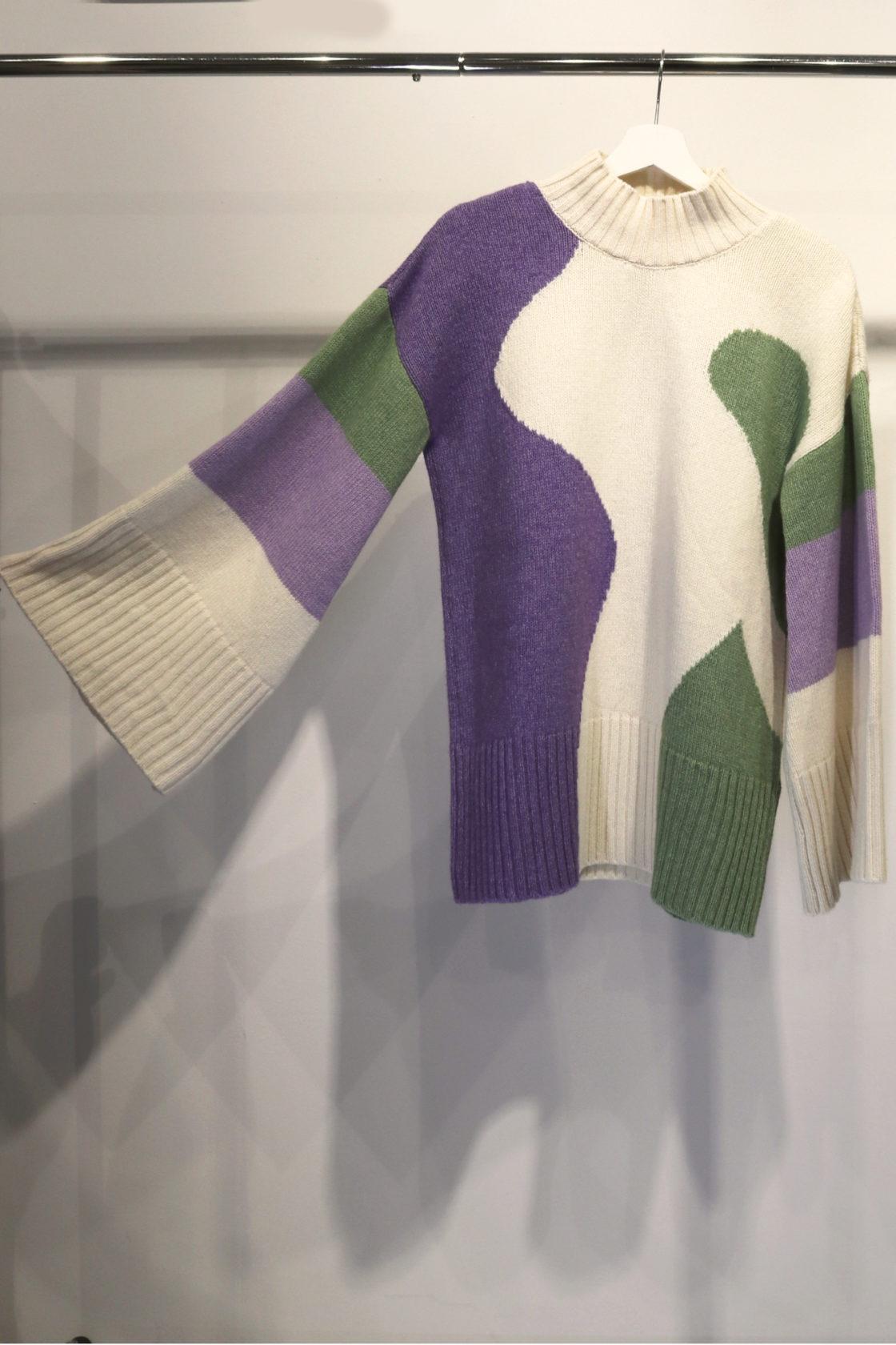Roberta Organic Fashion Organication Oversized Pullover Lila Grün 3