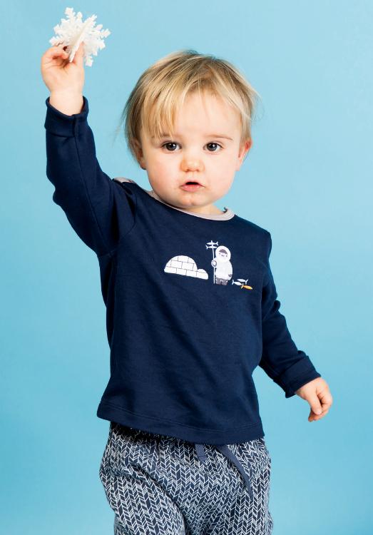 Longsleeve in Navy für Babys mit Eskimo