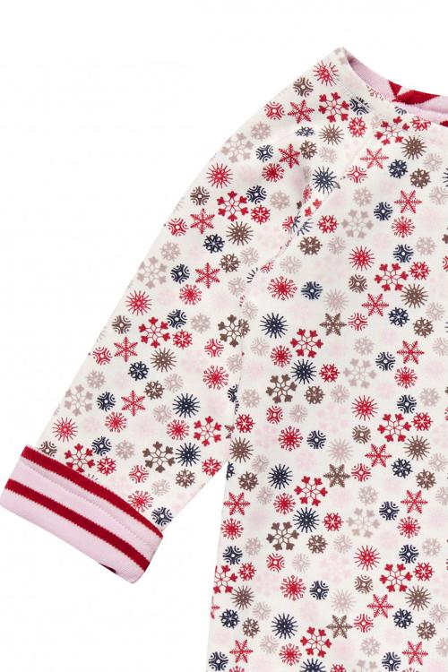 roberta organic fashion Sense Organics Wendesweater Rosa Schneeflocken detail