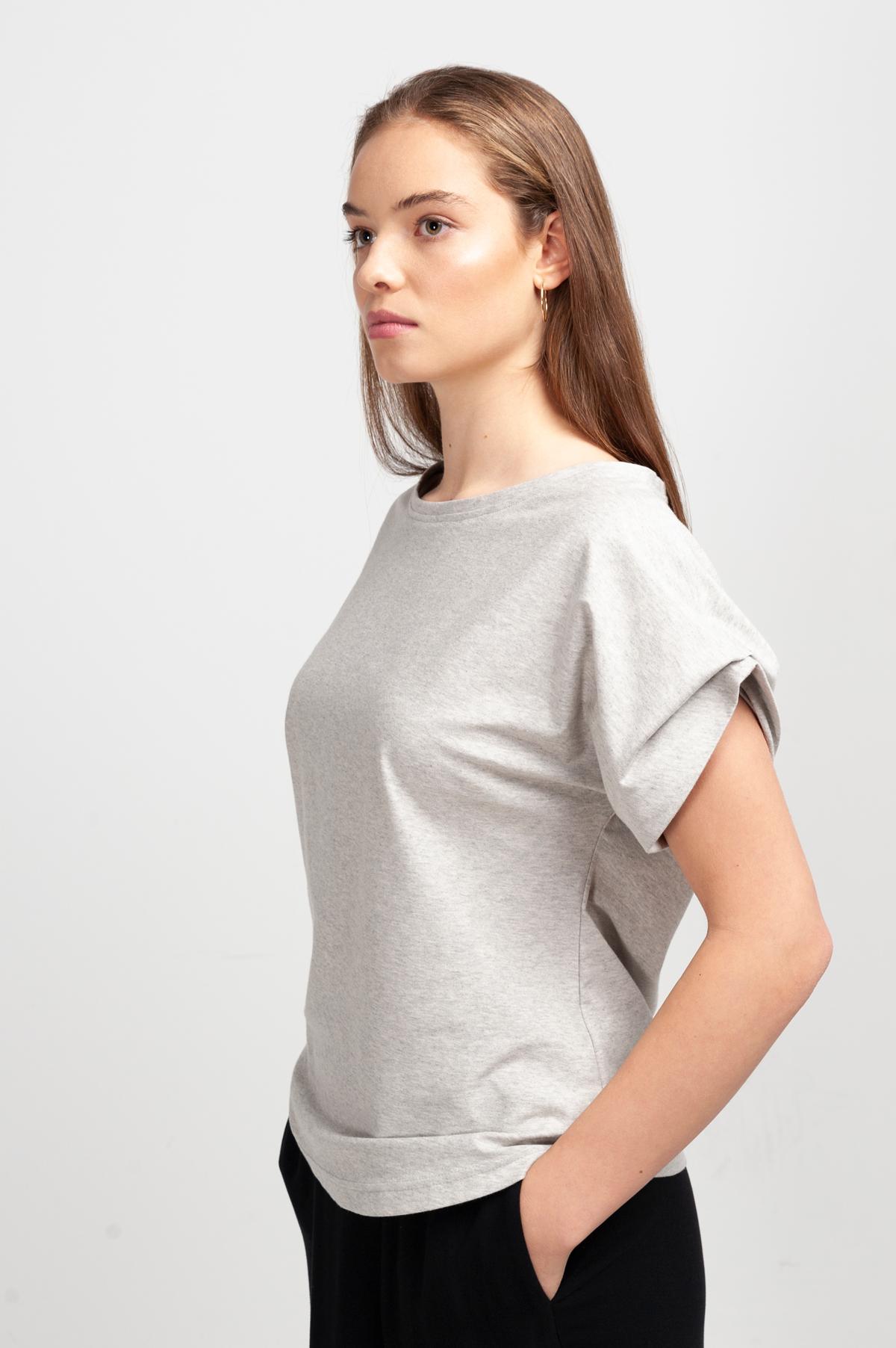 Roberta Organic Fashion Shipsheip T Shirt Ellie Blouse Grau Meliert (4)