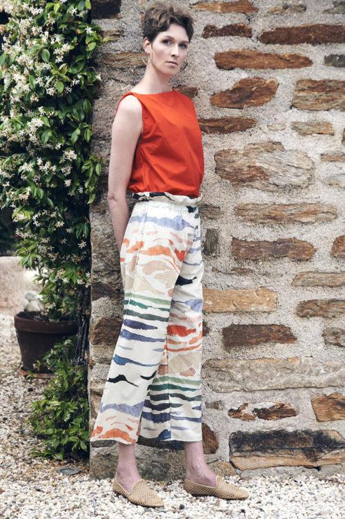 Weiße Culotte mit Aquarell-Print