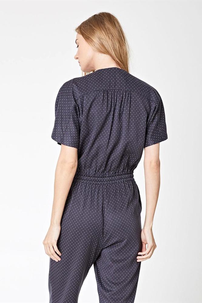 roberta organic fashion Thought Jumpsuit grey dots back