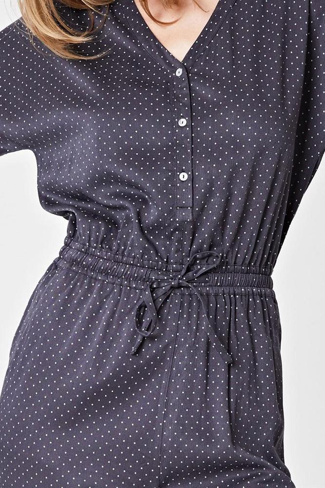 roberta organic fashion Thought Jumpsuit grey dots detail