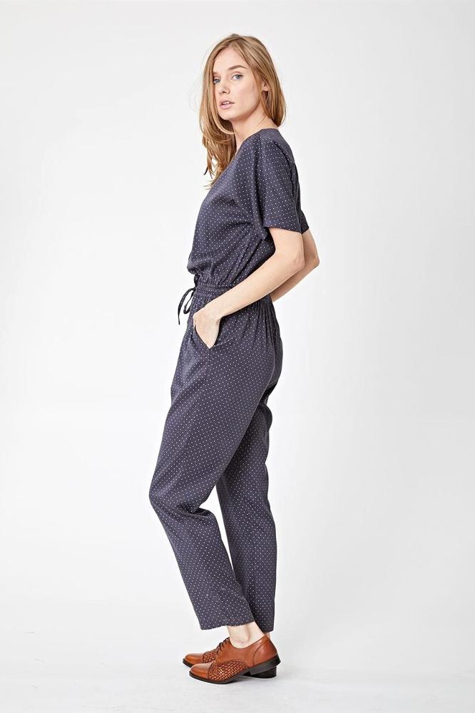 roberta organic fashion Thought Jumpsuit grey dots