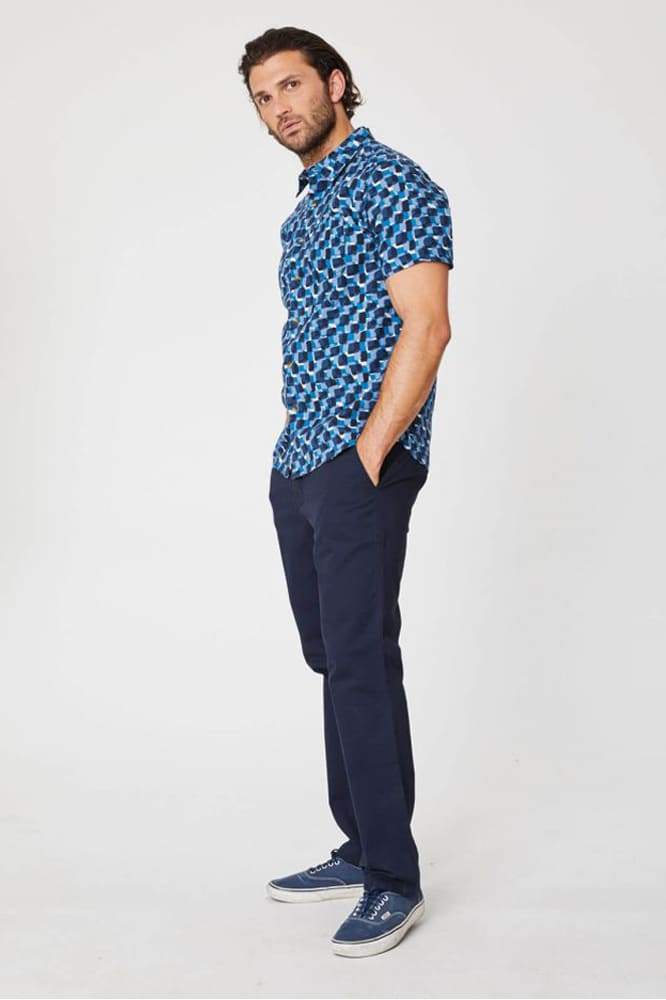 roberta organic fashion Thought Männer Hemd kurzarm blau 3