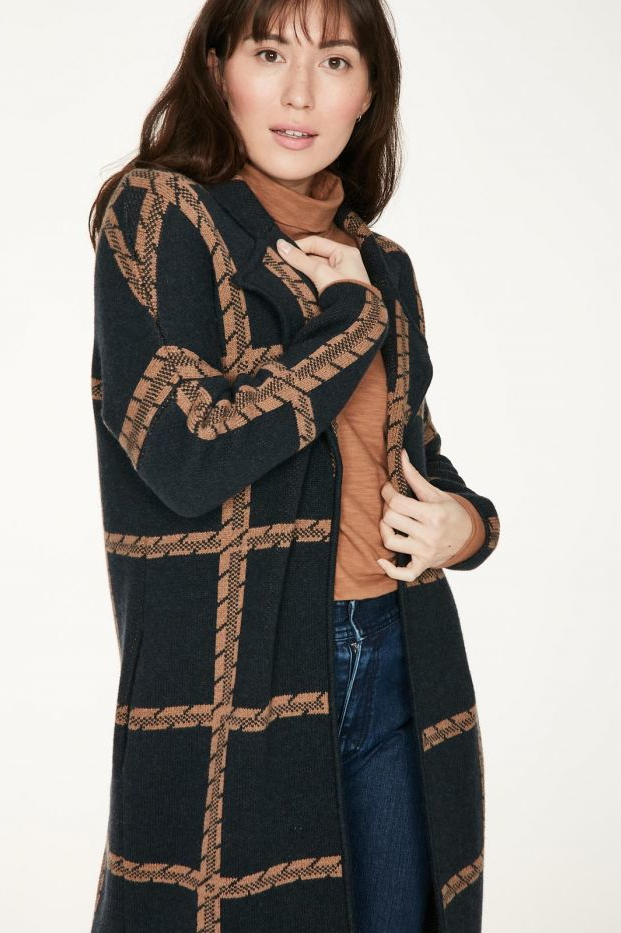 Roberta Organic Fashion Thought Strickmantel Chatterton Navy 1
