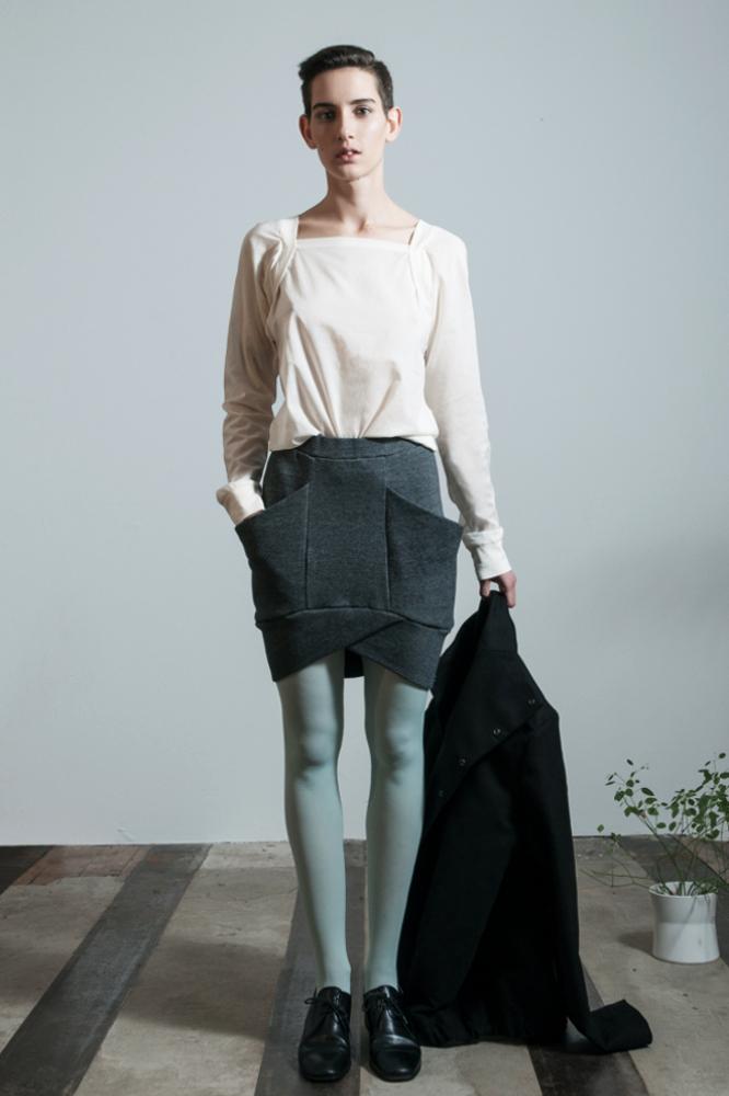 roberta organic fashion format Elot skirt Rock grau getragen